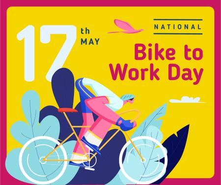 Template di design Man riding bicycle on Bike to Work Day Facebook
