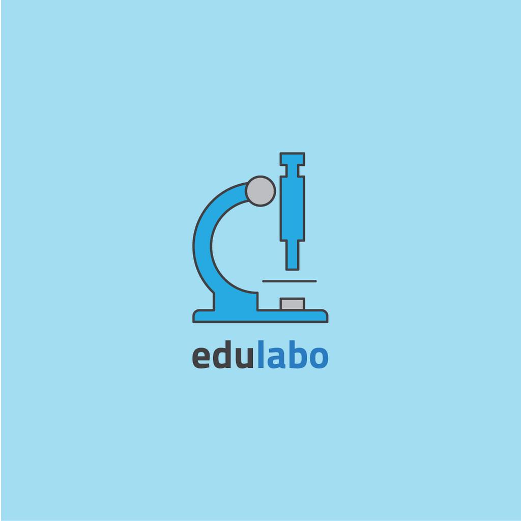 Laboratory Equipment Microscope Icon in Blue — Crea un design