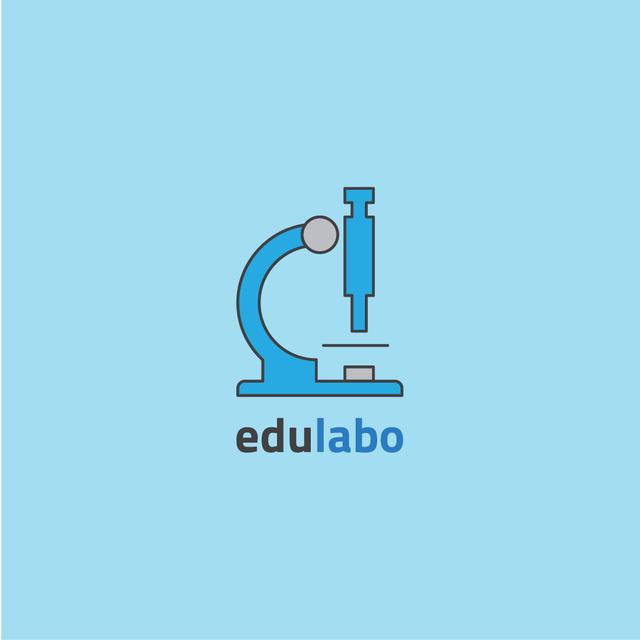 Laboratory Equipment Microscope Icon in Blue Logo Modelo de Design