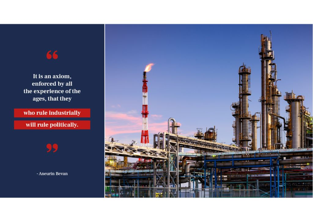 Industrial plant with chimneys Postcard Design Template