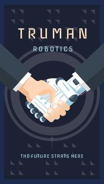 Man and robot shaking hands