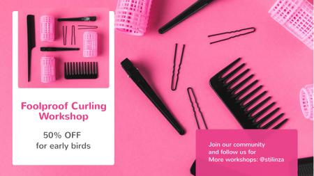 Hairdressing Tools Sale in Pink FB event cover – шаблон для дизайна