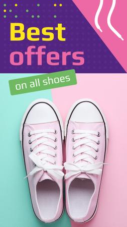 Footwear Offer with Pink Gumshoes Instagram Story Modelo de Design