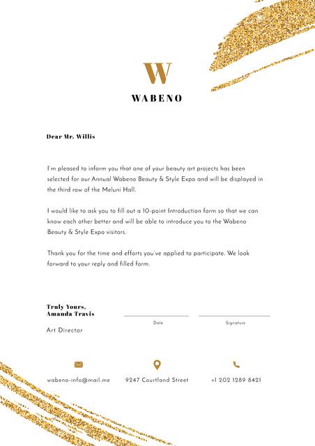Business Expo official terms on golden glitter Letterhead Design Template