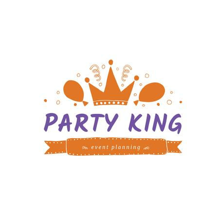 Event Agency with Balloons and Confetti in Orange Logo Design Template