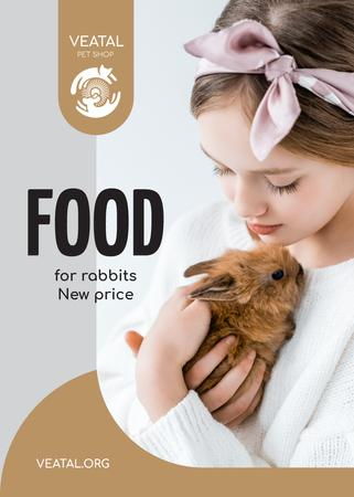 Plantilla de diseño de Pet Food Offer Girl Hugging Bunny Flayer