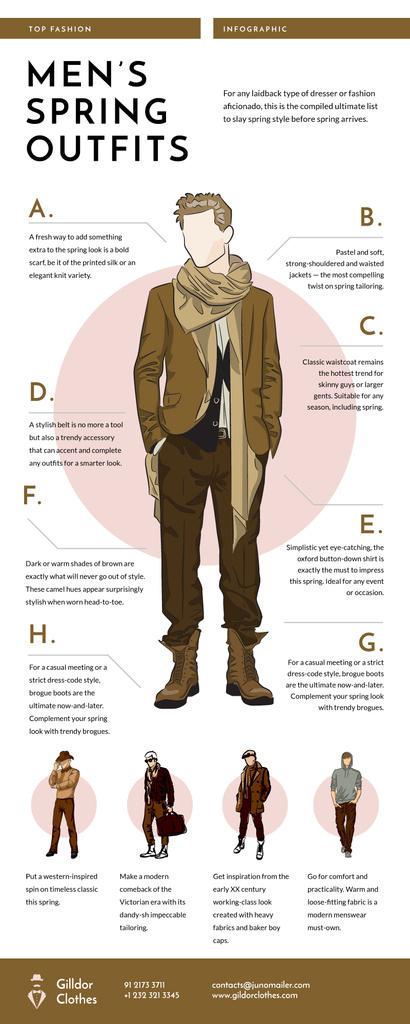 List infographics with Men's Outfit items — Создать дизайн