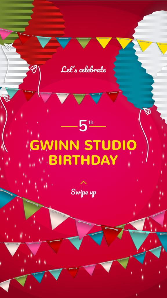 Anniversary celebration with Cute Pink Decorations — Crear un diseño