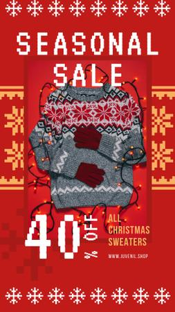 Seasonal Sale Christmas Sweater in Red Instagram Story Modelo de Design