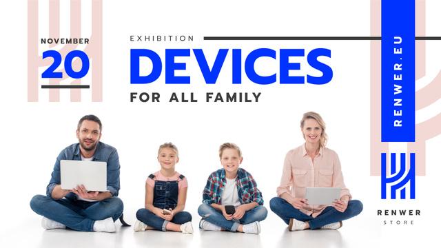 Plantilla de diseño de Devices Exhibition Family with Gadgets FB event cover
