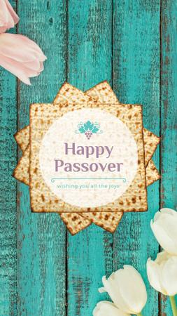 Happy Passover Table with Unleavened Bread Instagram Video Story Modelo de Design