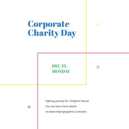 Corporate Charity Day on simple lines Instagram AD – шаблон для дизайна
