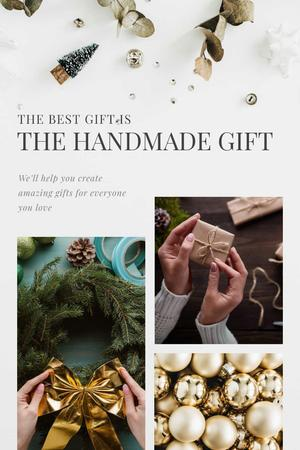 Ontwerpsjabloon van Pinterest van Handmade Gift Ideas with Woman Making Christmas Wreath