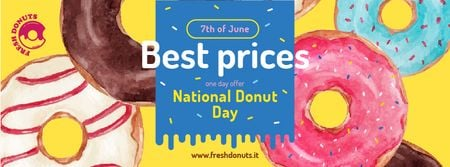 Modèle de visuel Delicious Glazed Donuts on Donuts Day - Facebook cover