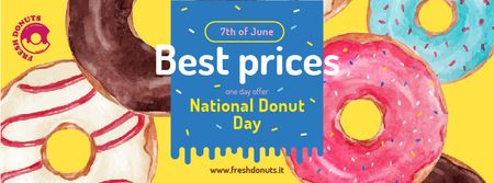 Delicious Glazed Donuts on Donuts Day Facebook cover Design Template