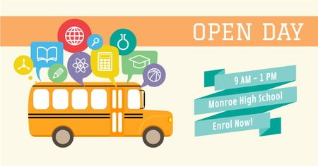 High school open day Ad with Yellow School Bus Facebook AD Modelo de Design