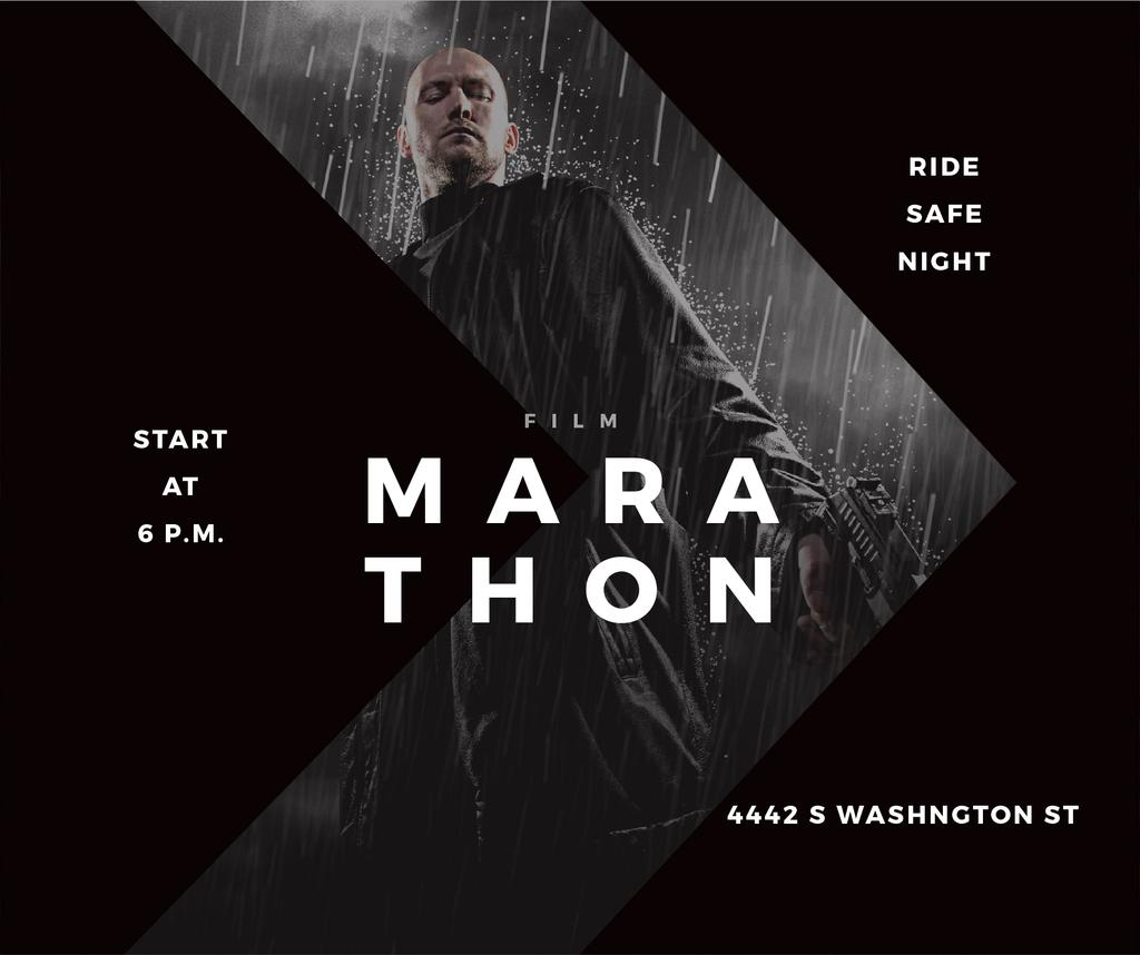 Film Marathon Ad Man with Gun under Rain — Crear un diseño