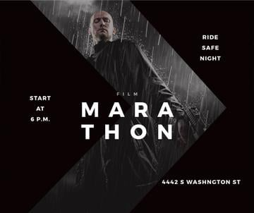 Film Marathon Ad Man with Gun under Rain | Facebook Post Template