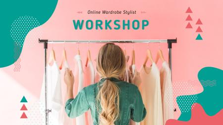 Plantilla de diseño de Girl Choosing Clothes on Hangers FB event cover