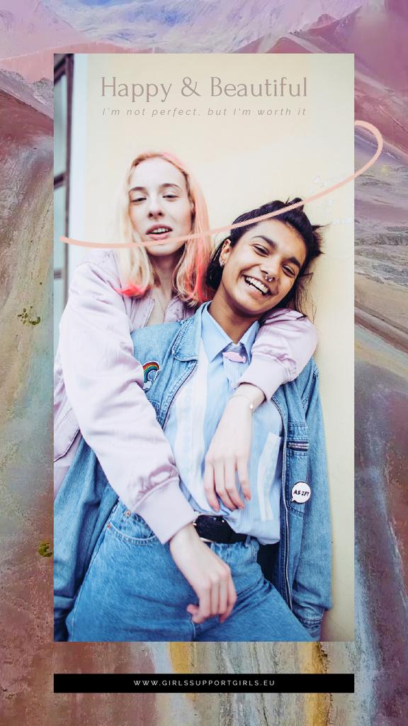 Inspirational Quote Two Girls Hugging | Vertical Video Template — Créer un visuel