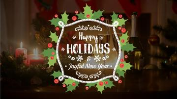 Winter Holidays Greeting Champagne and Candles