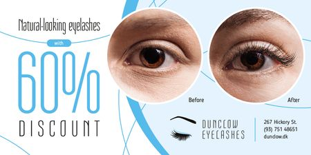 Ontwerpsjabloon van Twitter van Eyelash Extensions Offer in Blue