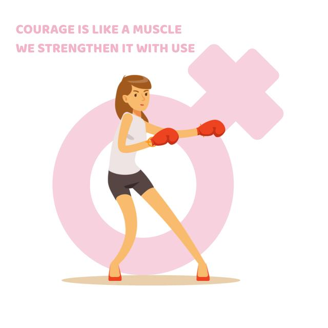 Woman in boxing gloves Animated Post Design Template