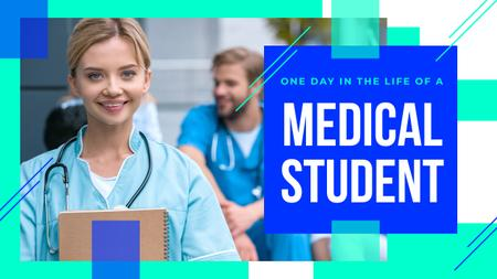 Plantilla de diseño de Medical Student with Stethoscope and Notepad Youtube Thumbnail