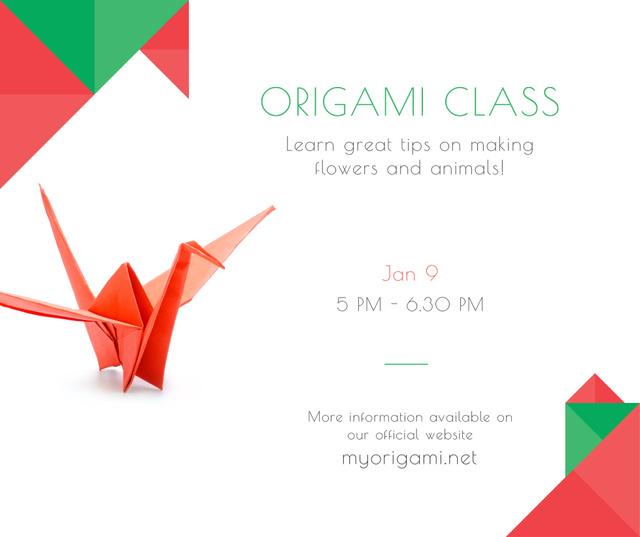 Modèle de visuel Origami Classes Invitation Paper Bird in Red - Facebook