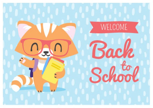 Welcome Back to School with Cute Fox in Eyeglasses Postcard Design Template