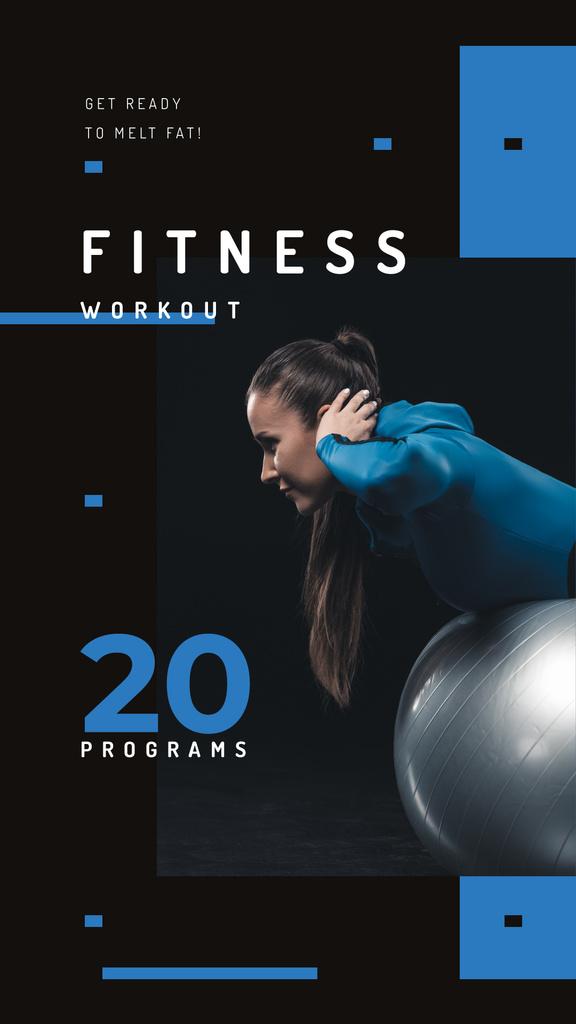 Girl training on pilates ball Instagram Storyデザインテンプレート