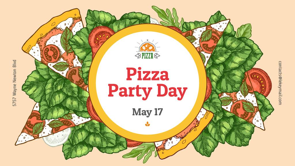 Pizza Party Day Margherita Frame | Facebook Event Cover Template — Створити дизайн
