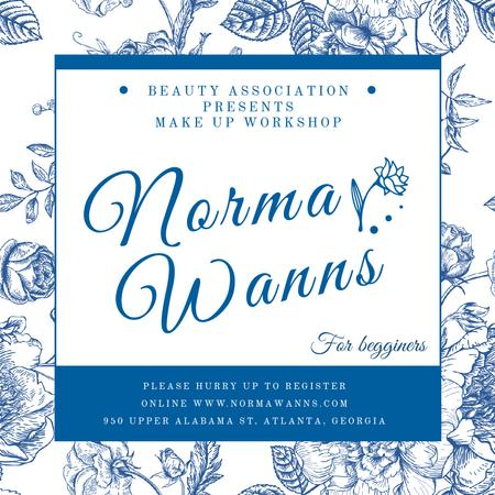 Plantilla de diseño de Beauty workshop advertisement with blue Flowers Instagram AD