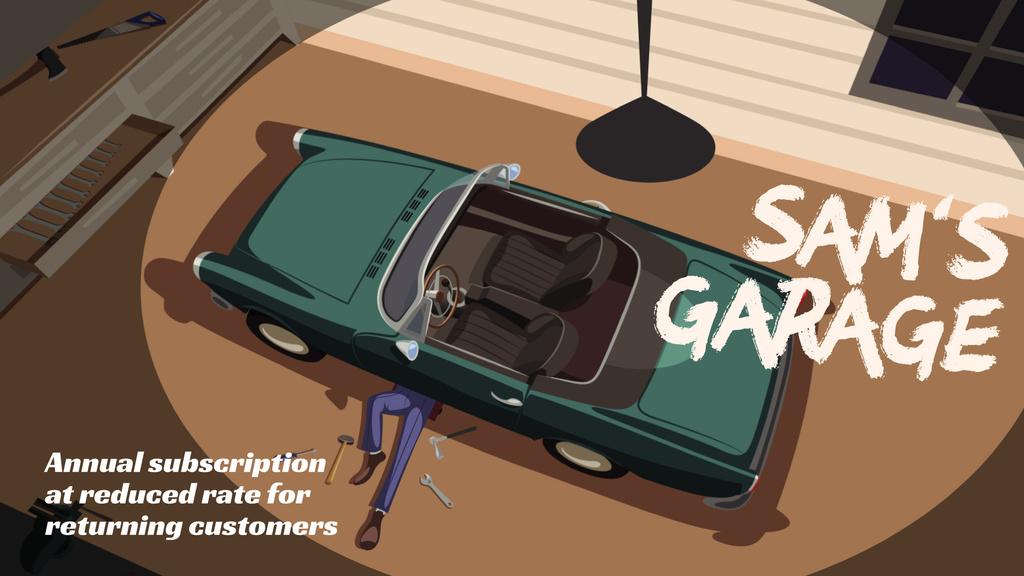 Man repairing car in garage — Créer un visuel