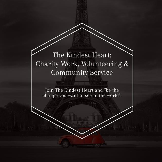 Template di design Charity Community promotion on Eiffel Tower view Instagram AD