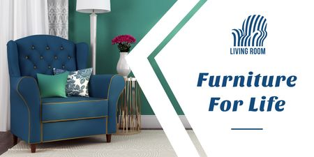 Furniture advertisement with Soft Armchair Twitter – шаблон для дизайна