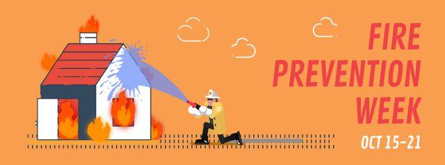 Firefighter extinguishes a burning house Facebook Video cover – шаблон для дизайну