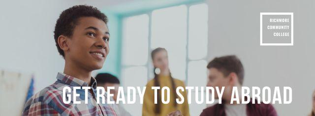 Designvorlage Abroad Education Program Students in Classroom für Facebook cover