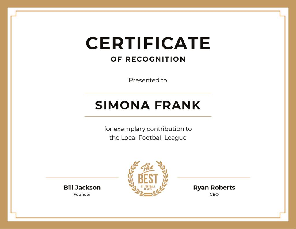 Football League contribution Recognition in golden — Create a Design