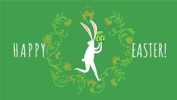 Happy Easter card with White Rabbit