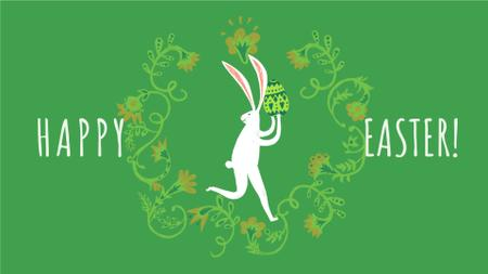 Plantilla de diseño de Happy Easter card with White Rabbit Full HD video