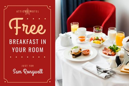 Hotel Breakfast Offer in White and Red Gift Certificate Modelo de Design