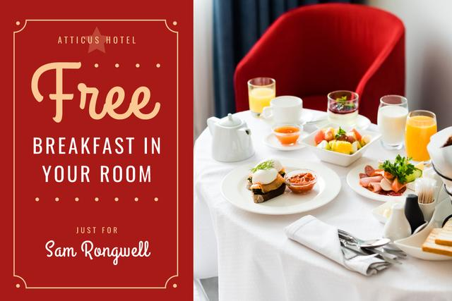 Modèle de visuel Hotel Breakfast Offer in White and Red - Gift Certificate