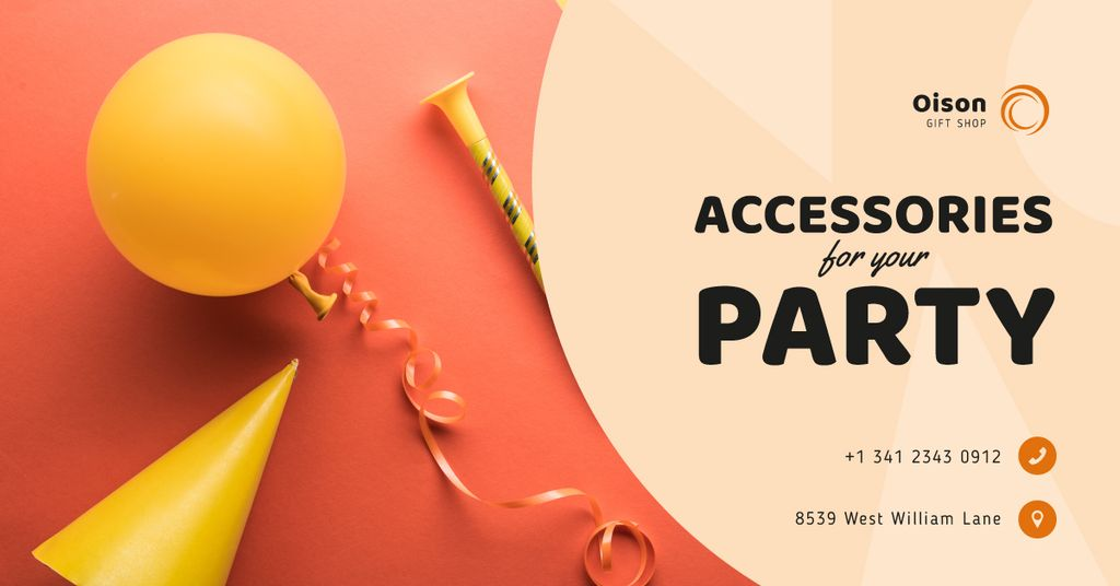 Party Accessories Store Ad in Red — Modelo de projeto