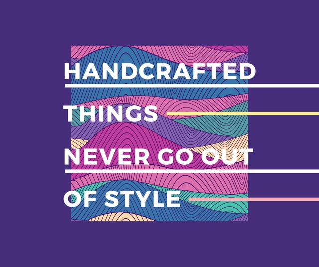 Handcrafted things Quote on Waves in purple Facebook – шаблон для дизайна