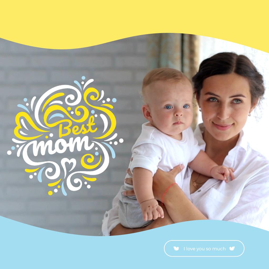 Child with loving mother on Mothers Day — Создать дизайн