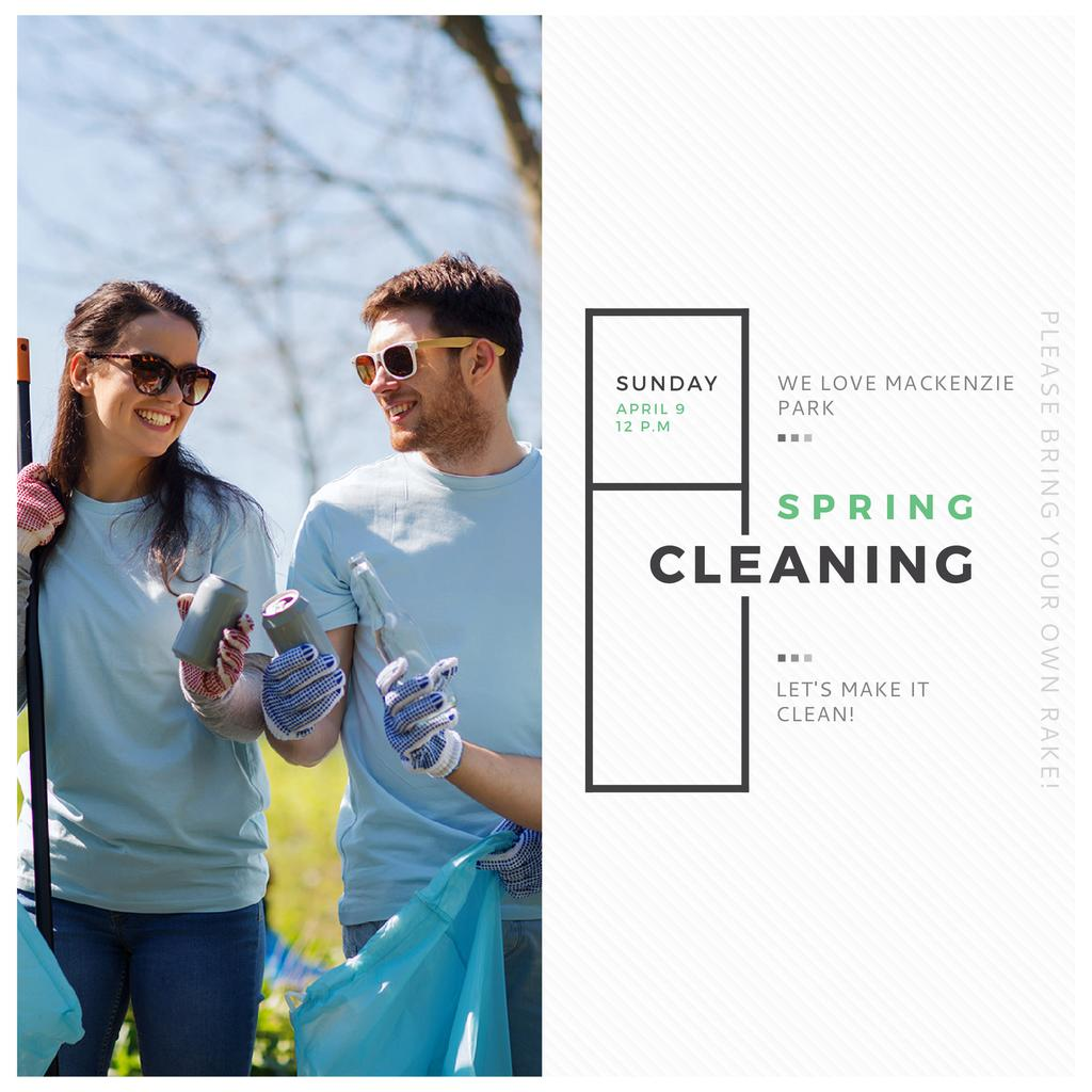 Ecological Event Volunteers Collecting Garbage — Crea un design