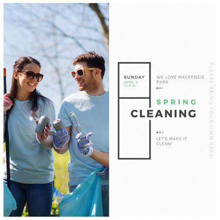 Ecological Event Volunteers Collecting Garbage Instagram ADデザインテンプレート