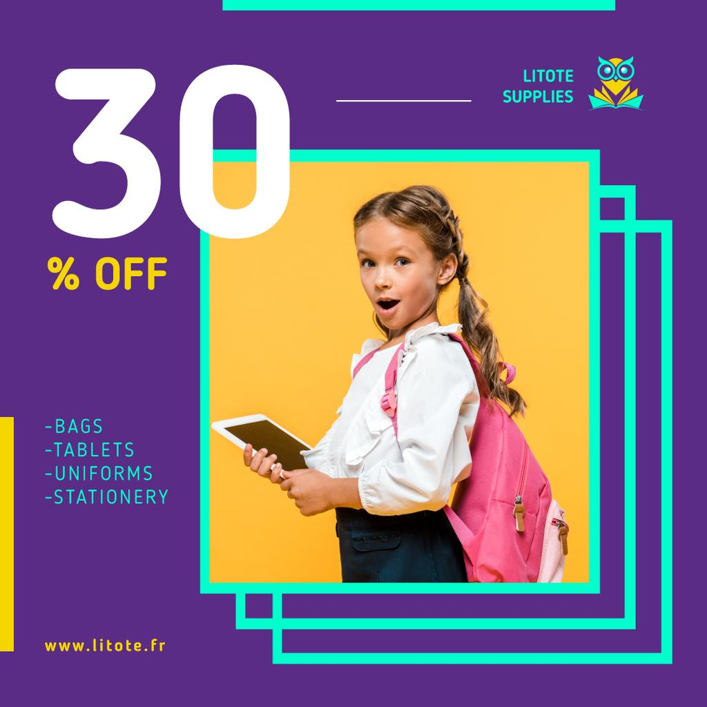 School Supplies Sale Girl with Tablet and Backpack | Instagram Ad Template — Modelo de projeto