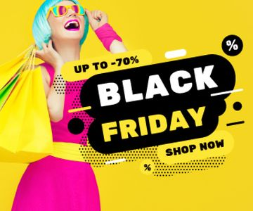 Black Friday Sale Woman with Shopping Bags | Large Rectangle Template